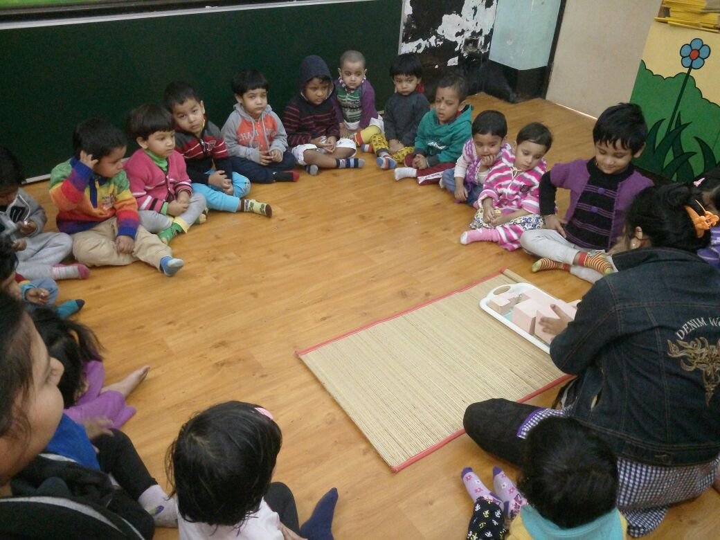 Pink Tower activity in class. Eurokids Behala and Netaji Nagar School