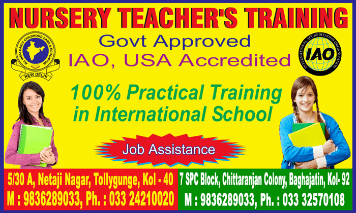Nursery teacher's training - 100% practical traning in international school